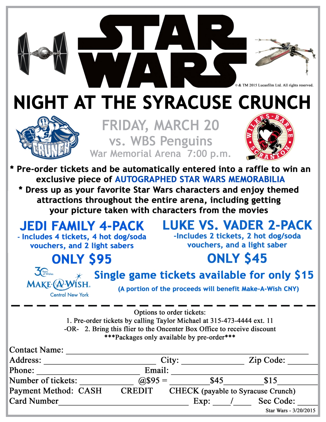 Star Wars Ticket Packages